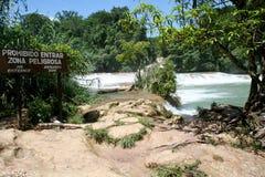 agua azul Mexico siklawa Zdjęcie Stock