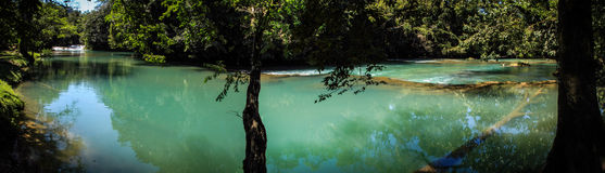 Agua Azul Panorama, Chiapas, Mexico Arkivbilder