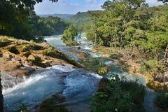Agua Azul siklawa, półwysep jukatan, Meksyk Zdjęcie Stock