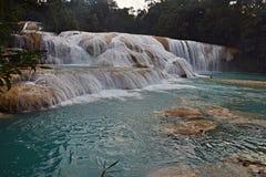 Agua Azul siklawa, półwysep jukatan, Meksyk Obraz Stock