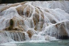 Agua Azul siklawa, półwysep jukatan, Meksyk Fotografia Stock