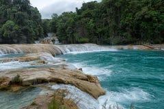 Agua Azul siklawy w Chiapas Meksyk Zdjęcia Royalty Free