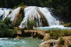 Agua Azul Waterfall Chiapas Mexico royalty-vrije stock afbeelding