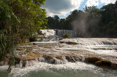 Agua Azul Waterfalls i Mexico Arkivfoton
