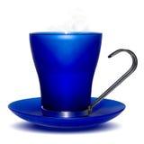 Agua caliente de la taza azul fotografía de archivo libre de regalías
