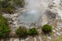 Agua caliente geotérmica en Furnas en la isla del sao Miguel Fotografía de archivo libre de regalías