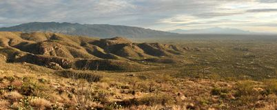 Agua Caliente Hill in Tucson, Arizona. Panorama of Agua Caliente Hill, the Rincon Mountains, and Saguaro National Park in the Sonoran Desert of Tucson, Arizona royalty free stock photo