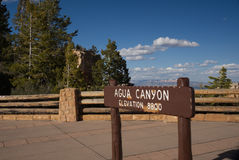 Agua Canyon Overlook Sign. In Bryce Canyon National Park stock photography