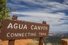 Agua Canyon sign in Bryce Canyon. National Park, Utah, USA Stock Images