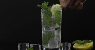 Agua clara en vidrio con las hojas de menta y los cubos de hielo verdes en fondo negro almacen de video