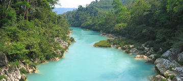Agua Clara river upper view , Mexico , Panorama Royalty Free Stock Photos