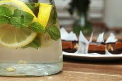 Agua con la fruta cítrica y la menta Fotografía de archivo libre de regalías