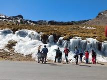 Agua congelada en los Andes Foto de archivo