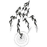 Agua conmovedora de la garra estilizada abstracta de B&W Imagen de archivo libre de regalías