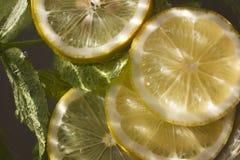 Agua cortada del limón y de la menta imagen de archivo