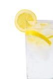 Agua de hielo chispeante con las rebanadas de limón imagen de archivo libre de regalías