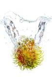 Agua de la gota del Rambutan Foto de archivo libre de regalías