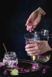 Agua de la limonada de la lila con el limón Fotos de archivo libres de regalías