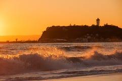 Agua de la puesta del sol y del chapoteo Imagen de archivo