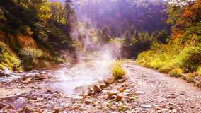Agua de las aguas termales en bosque del otoño Fotografía de archivo libre de regalías
