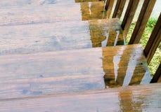 Agua de lluvia en las escaleras Imágenes de archivo libres de regalías