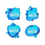 Agua de manatial, logotipo del vector, etiquetas y plantilla minerales de las etiquetas engomadas Imagenes de archivo