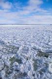 Agua de río del invierno con hielo flotante Foto de archivo libre de regalías