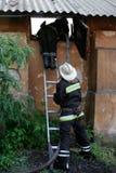 Agua de rociadura del bombero Imágenes de archivo libres de regalías
