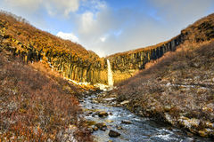 Agua de Svartifoss en invierno temprano Imagen de archivo libre de regalías