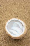 Agua del coco con la carne de coco en cáscara del coco en la arena Imágenes de archivo libres de regalías
