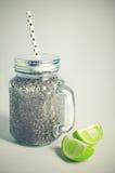 Agua del coco con la jalea del chia Fotografía de archivo