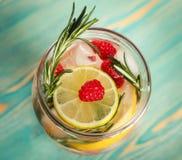 Agua del Detox con la fruta cítrica, frambuesa, romero, primer Imagen de archivo