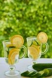 Agua del limón en dos vidrios con las rebanadas del hielo y del pepino en el fondo borroso de la naturaleza Cócteles del frío del Imágenes de archivo libres de regalías