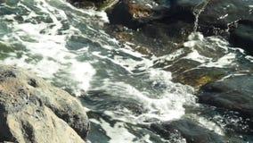 Agua del océano que flota a través de las rocas vulcanic cerca para arriba almacen de metraje de vídeo