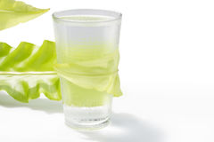 Agua dulce en vidrio con la hoja verde en blanco Imágenes de archivo libres de regalías