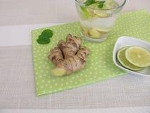Agua fresca z korzeniem, cytryną i mennicą imbiru, Zdjęcia Stock