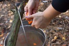 Agua hirvienda con las verduras y la zanahoria para cocinar el pilaf Turismo, viaje, té de la mañana, desayuno, aventura Foto de archivo
