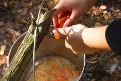 Agua hirvienda con las verduras y la zanahoria para cocinar el pilaf Turismo, viaje, té de la mañana, desayuno, aventura Fotografía de archivo libre de regalías