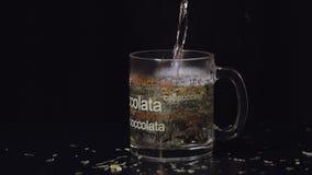 Agua hirvienda de colada en la taza de cristal con las hojas de té verdes secas orgánicas Preparación de té verde Cámara lenta Fo almacen de video