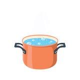 Agua hirvienda en cacerola Pote de cocinar rojo en estufa con agua y el vapor fotografía de archivo
