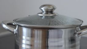 Agua hirvienda en un cazo con la tapa de cristal, primer El agua expressa con gorjeos, asperja y fluye de la cacerola almacen de video