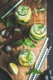 Agua infundida sana del sassi de la fruta cítrica en las botellas de cristal con romero Imágenes de archivo libres de regalías