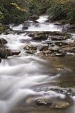 Agua pacífica de la montaña que fluye fotografía de archivo