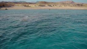 Agua profunda cristalina del Mar Rojo y la orilla abandonada de la isla Cámara lenta almacen de metraje de vídeo