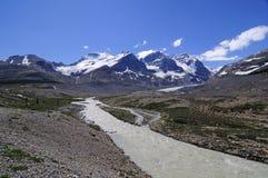 Agua que corre abajo del glaciar de Athabasca Foto de archivo libre de regalías