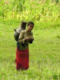 Agua que lleva de la mujer joven del Amhara, Etiopía imágenes de archivo libres de regalías