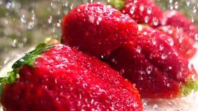 Agua que vierte en las fresas