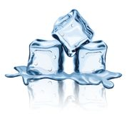 Agua s?lida derretida de la helada l?quida congelada de los cubos de hielo libre illustration