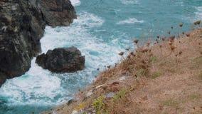Agua salvaje del océano en la ensenada de Kynance en Cornualles almacen de metraje de vídeo