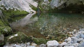 Agua transparente de un pequeño lago de la montaña almacen de metraje de vídeo